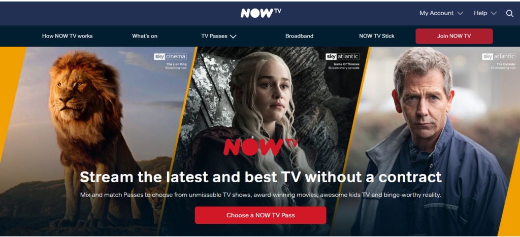 Homepage Now TV